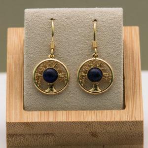 Boucles d'oreilles Arbre de Vie, Lapis Lazuli, Or fin.